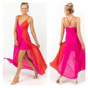Francesca's Maxi Dress Pink & Red NWT
